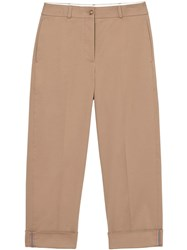 Burberry Icon Stripe Detail Stretch Cotton Cropped Trousers Brown