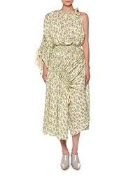 Marni One Shoulder Floral Print Midi Dress Light Yellow