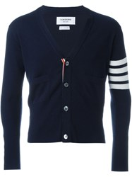 Thom Browne Striped Sleeve Cardigan Blue