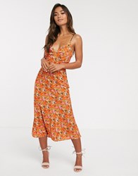 Finders Keepers Bloom Midi Slip Dress With Contrast Lace Up Back Red