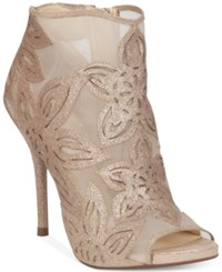 Jessica Simpson Bliths Floral And Mesh Peep Toe Ankle Booties Women's Shoes Moet Sheer