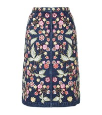 Needle And Thread Embroidered A Line Denim Skirt Female Blue