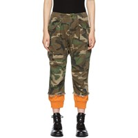R 13 R13 Green And Orange Camo Harem Cuffs Cargo Trousers