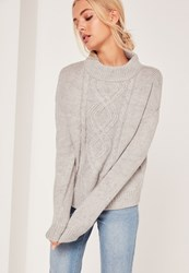 Missguided Turtle Neck Cable Jumper Grey