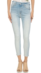 7 For All Mankind High Waisted Skinny Jeans Slim Illusion Bright Ice Blue