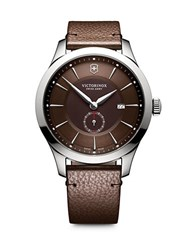 Victorinox Alliance Sterling Silver Analog Leather Strap Watch Brown
