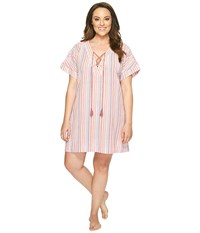 Lucky Brand Plus Size Lace Up Caftan Multi August Stripes Women's Pajama Pink
