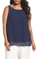 Eileen Fisher Plus Size Women's Silk Georgette Crepe Tiered Tank Midnight