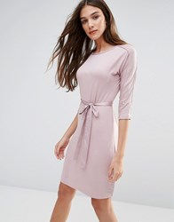 Lavand Waist Tie 3 4 Sleeve Dress In White Pink