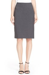 Women's Theory Stretch Wool Pencil Skirt Charcoal