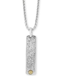 Effy Men's White Sapphire Dog Tag Pendant Necklace 2 Ct. T.W. In Sterling Silver And 18K Gold