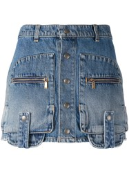 Saint Laurent Cargo Mini Skirt Women Cotton 26 Blue