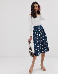 Asos Design Midi Skirt With Box Pleats In Navy Floral Print Multi