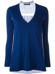 Twin Set V Neck Knitted Top Blue
