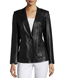 Lafayette 148 New York Stelly One Button Leather Jacket Black Women's