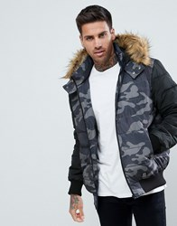 Yourturn Puffer Jacket In Camo With Faux Fur Hood Grey Camo Multi