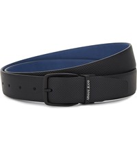 Armani Jeans Holepunched Reversible Leather Belt Black