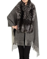 Pologeorgis Fox Fur And Wool Blend Shawl Dark Gray
