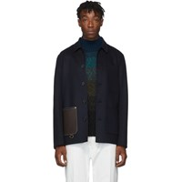 Loewe Navy Wool And Cashmere Button Jacket