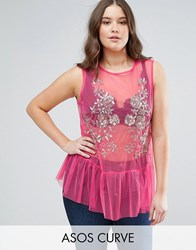 Asos Curve Top In Mesh With Pep Hem And Sequin Detail Pink