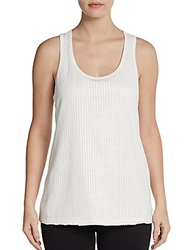 Saks Fifth Avenue Red Faux Leather Racerback Tank White