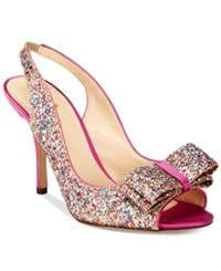 Kate Spade New York Charm Multicolor Glitter Open Toe Pumps Women's Shoes Pink Glitter Multi