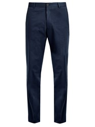 Kilgour Slim Fit Cotton Blend Chino Trousers Navy