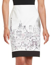 Tahari By Arthur S. Levine Cityscape Pencil Skirt White Black