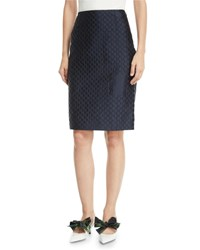 Prada A Line Jacquard Knee Length Pencil Skirt Blue