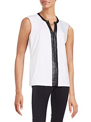 Calvin Klein Faux Leather Accented Top Soft White