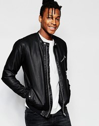 Pull And Bear Pullandbear Biker Jacket In Black Faux Leather With Chest Zip Detail Black