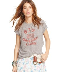 Denim And Supply Ralph Lauren Graphic Cotton Jersey Tee Grey