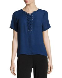 Michael Michael Kors Short Sleeve Grommet Lace Up Tee Blue Pattern