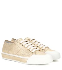 Tod's Metallic Leather Sneakers Gold