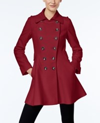 Via Spiga Double Breasted Flared Peacoat Via Red