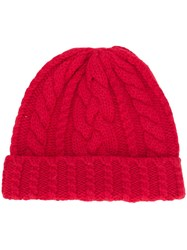 Ami Alexandre Mattiussi Cable Knit Beanie Red