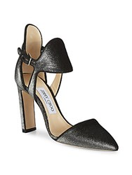 Jimmy Choo Moon Ankle Cuff Block Heels Anthracite
