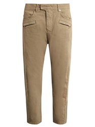 Balmain Relaxed Fit Cropped Jeans Beige