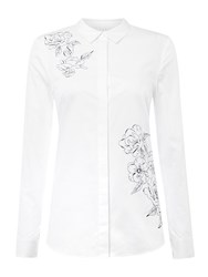 Linea Split Back Shirt With Embroidery White