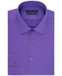 Geoffrey Beene Men's Fitted Non Iron Textured Sateen Dress Shirt Purple