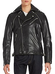 Karl Lagerfeld Adaptable Leather Moto Jacket Black