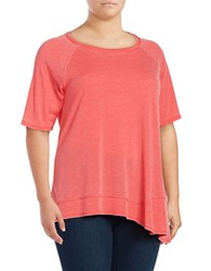 Calvin Klein Performance Plus Asymmetrical Jersey Knit T Shirt Red