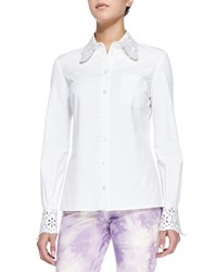 Michael Kors Crystal Eyelet Embellished Shirt Optic White