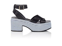 Barneys New York Women's Striped Platform Leather Crisscross Strap Sandals Navy Blue White