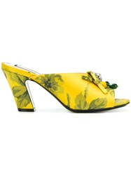 N 21 No21 Floral Print Embellished Mules Yellow And Orange