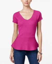 Inc International Concepts V Neck Peplum Sweater Only At Macy's Magenta Flame