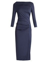 Vivienne Westwood Taxa Asymmetric Draped Jersey Dress Blue