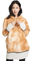 3.1 Phillip Lim Tie Dye Hoodie With Mohair Ribs Camel White