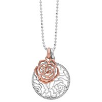 Dower And Hall Wild Rose Flower Disc Double Pendant Necklace Silver Rose Gold