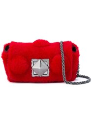 Sonia Rykiel Fur Crossbody Bag Red